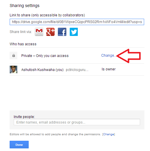 sharing settings as public