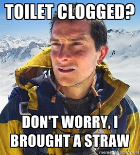 bear grylls clogged toilet