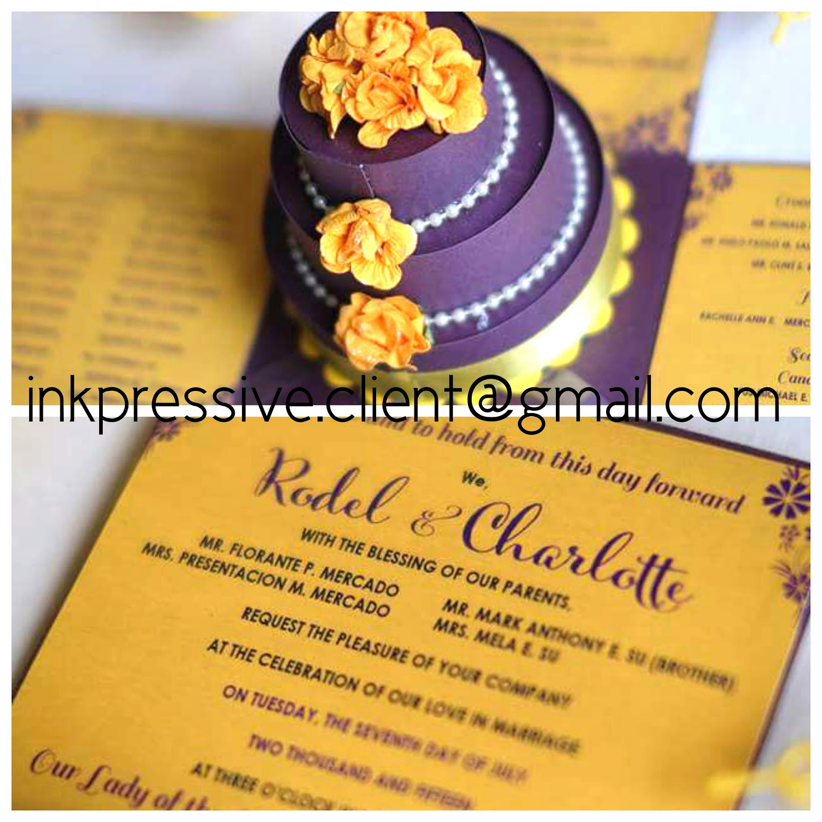 Exploding Box Wedding Invitation with Cake ~ Purple and Yellow ...