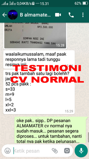 TESTIMONI PEMBELIAN JAS ALMAMATER CV NORMAL