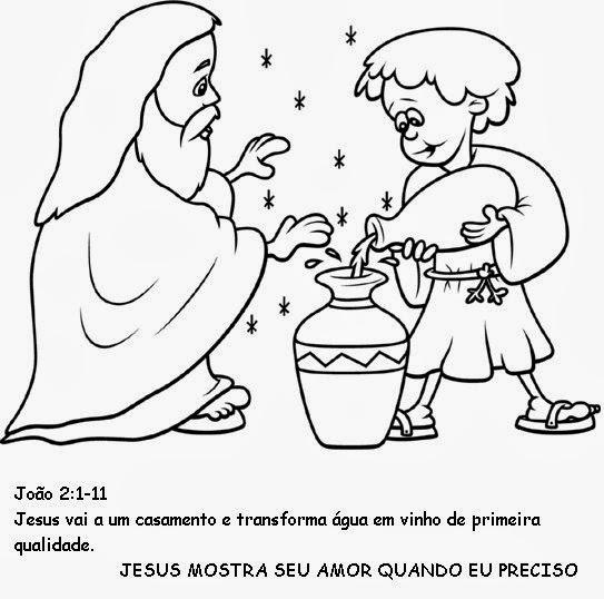 jesus transforma Água em vinho desenhos e atividades