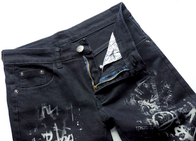 wholesale mens jeans - Slim Fit Dark Blue Cotton Material Artistic Jeans
