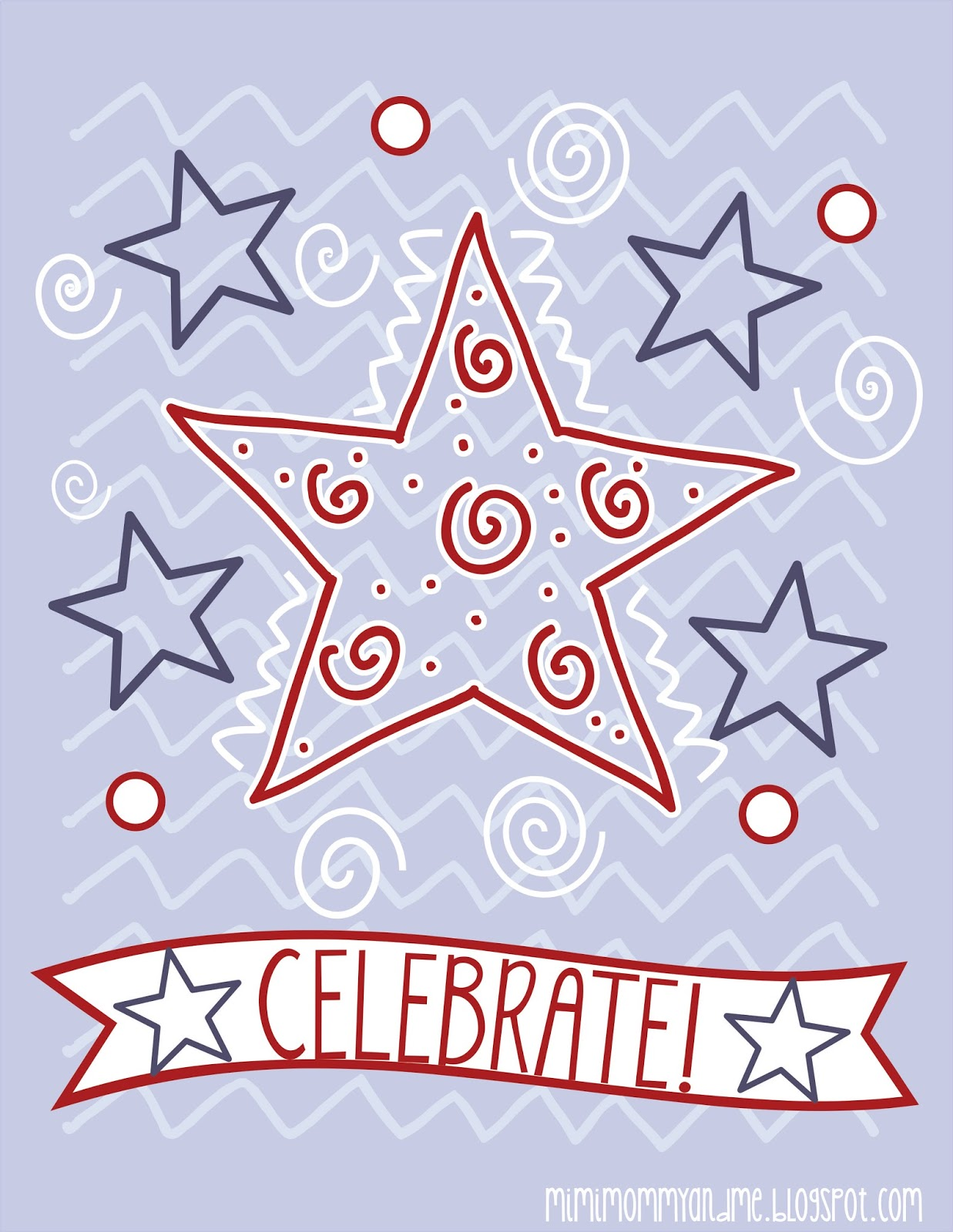 Free 'Celebrate!' 4th of July Printable #independenceday #printable #celebrate #stars #redwhiteblue