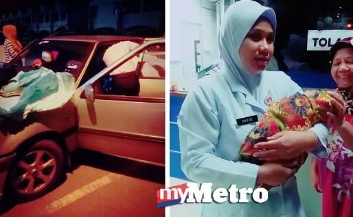 Isteri bersalin di tempat duduk kereta, Tak sempat masuk klinik