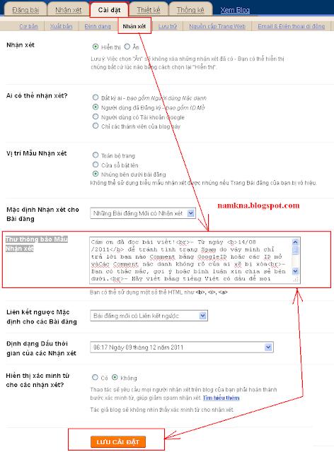 tạo bảng nội quy nhận xét cho blogspot