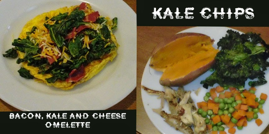Kale Chips, Bacon, Kale and Cheese Omelette Recipe.
