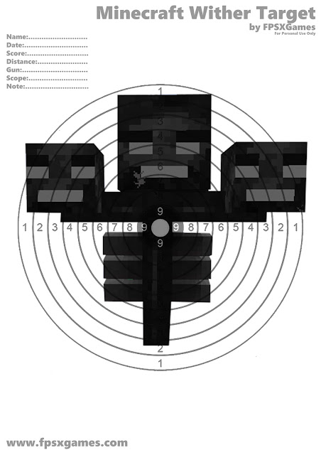 Printable Minecraft Wither target