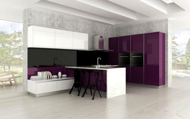 Cuisine moderne noir et violet avec des - Cuisine equipee violet ...