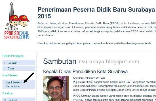 cek hasil PPDB SD Surabaya 2015