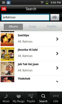 Raaga Android App for Free Music