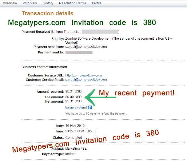 Payment proof of megatypers.com paypal November 2012 image