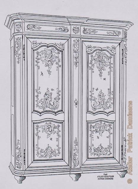 Ornamentsnijder patrick damiaens de luikse garderobekast 18de eeuwse luikse meubelen - Garderobe stijl van lodewijk xv ...