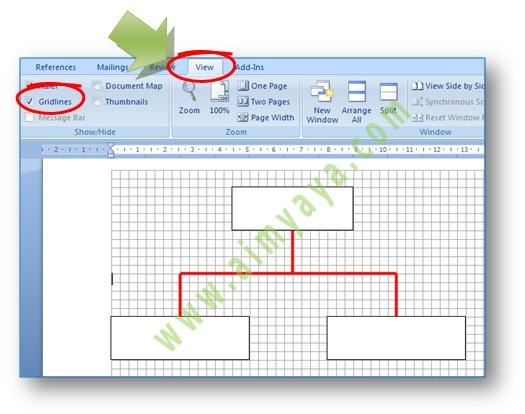 Gambar: Contoh menggambar rapi dengan memakai Gridlines di microsoft Word 2007
