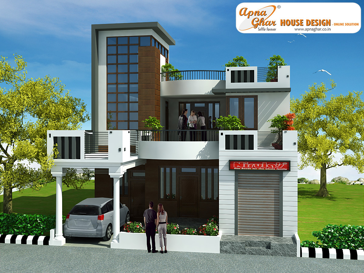 Front Elevation Duplex House Square Meter