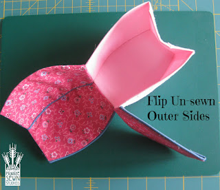 Flip un-sewn outer sides - Pumpkin with Piping