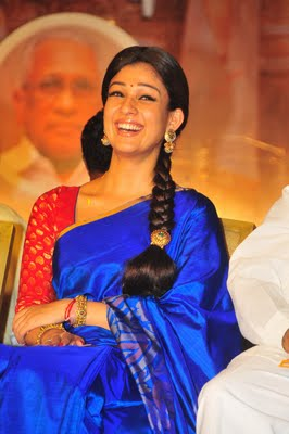 Nayanthara in Blue Saree - Nayanthara in Blue Saree at Sri Rama Rajyam Audio Launch