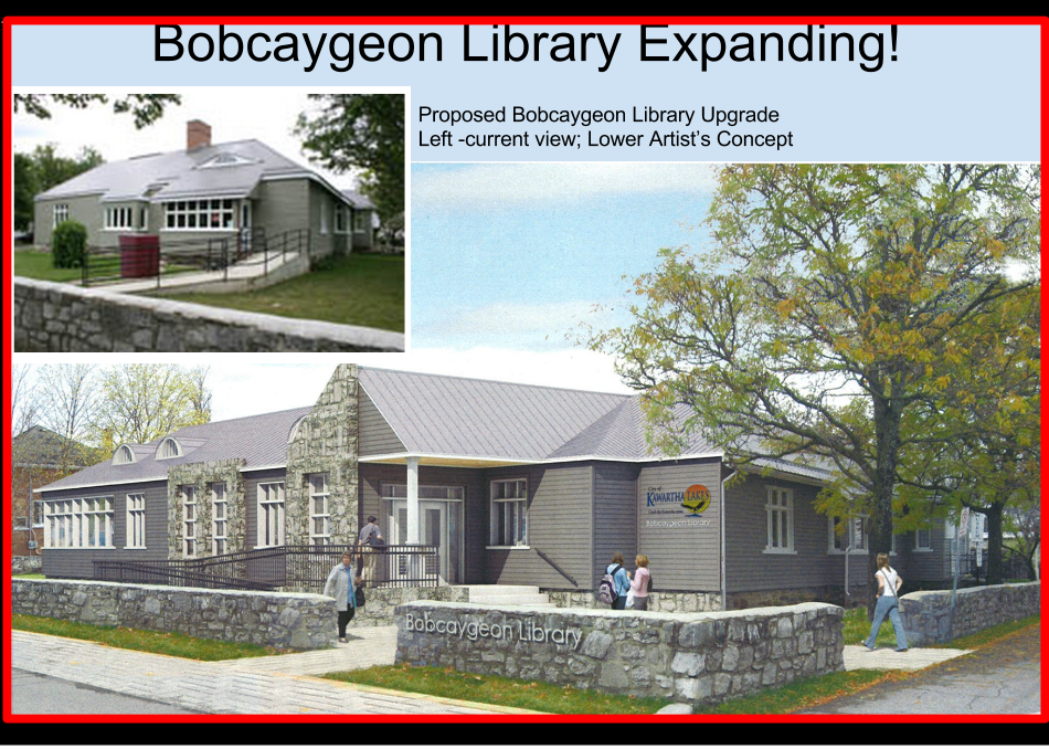 Bobcaygeon 2014 proposed expansion shows current buiding and artists conception