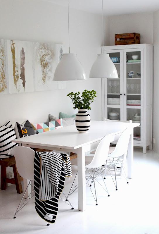 Un comedor con un banco en vez de sillas | Decorar tu casa es ...