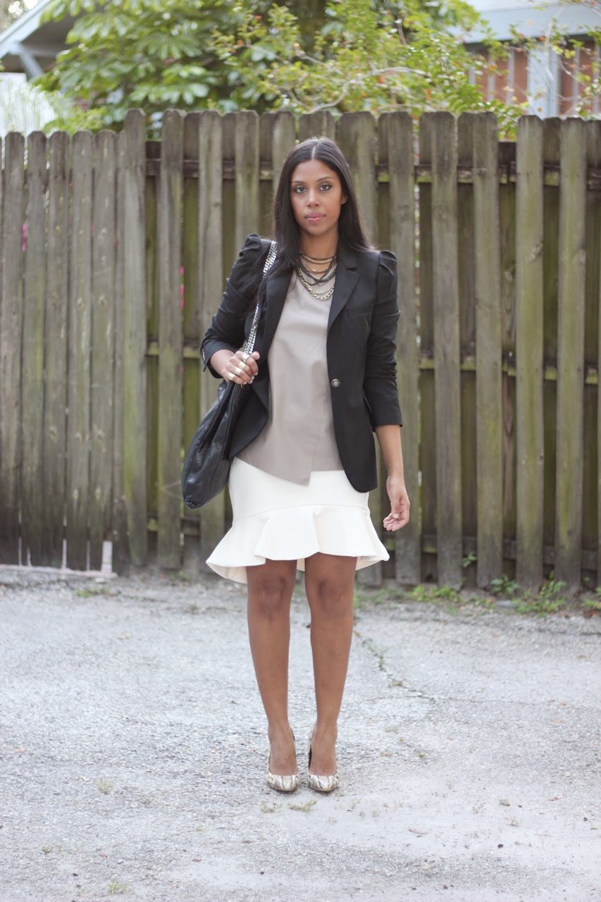 White Ivory Zara Flare Skirt Blazer Tory Burch Snake Pumps Shoes Chanel Chain Bag Balmain Work Fashion Leather