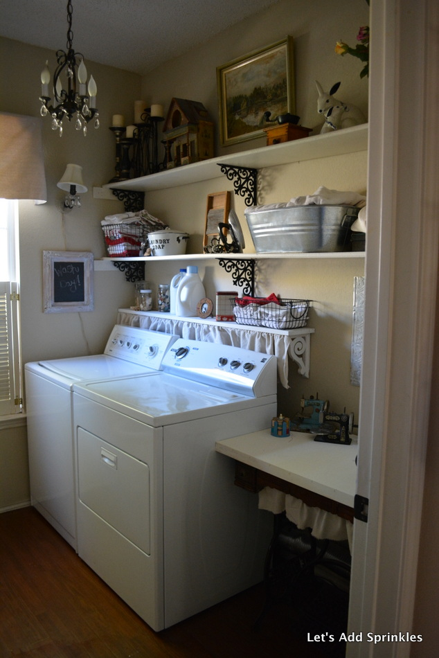 Let 39 s add sprinkles shelf above the washer and dryer for Shelf above washer and dryer