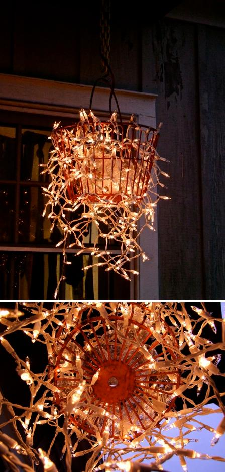 Make a chandelier from an old basket alternative green world - Building a chandelier ...