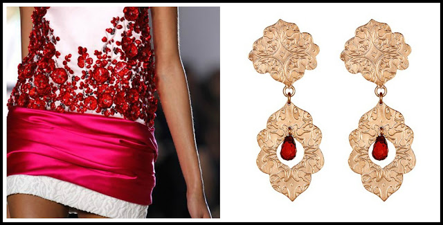 Giambattista Valli, earrings, garnets, red, colours, India