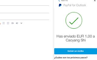 Iniciar sesion Outlook y enviar dinero Paypal