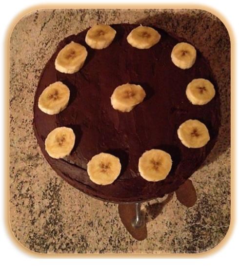 Tarta de plátano y chocolate