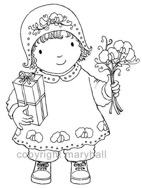 Meninas com flores para imprimir e colorir