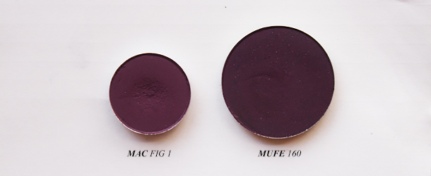 mac fig 1 eyeshadow dupe swatch comparison mufe 160 makeup forever