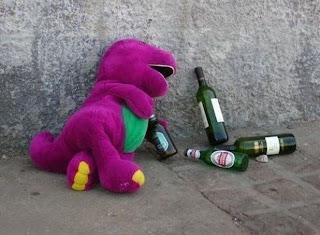 Barney con una copas de más