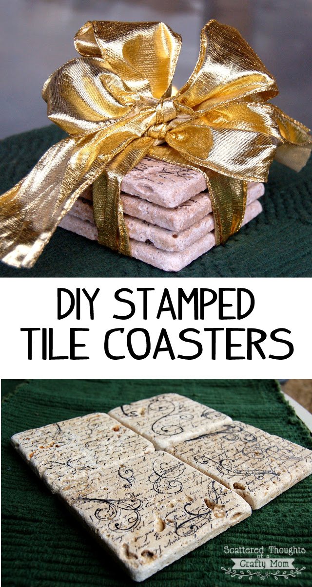 Gift Idea: DIY Stamped Tile Coasters