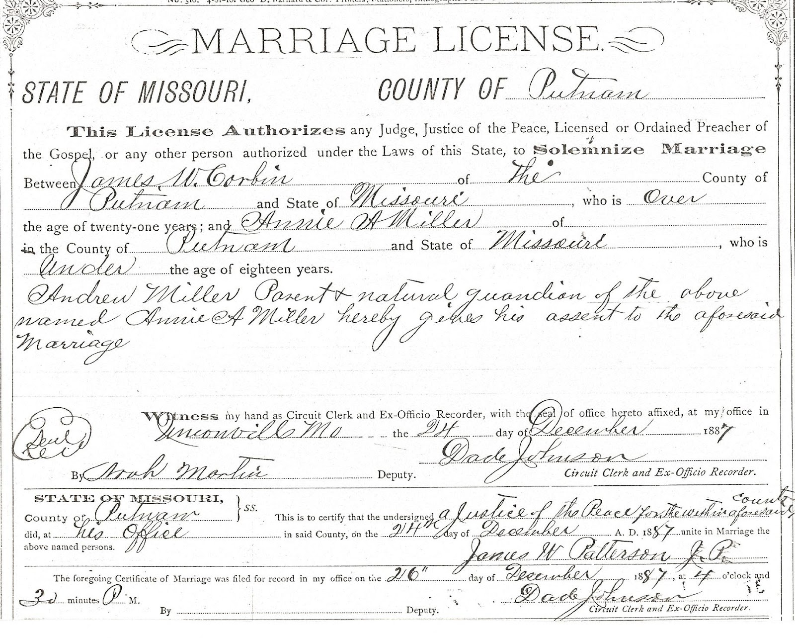This Is A Copy Of The Marriage License For James William And Annie (miller)