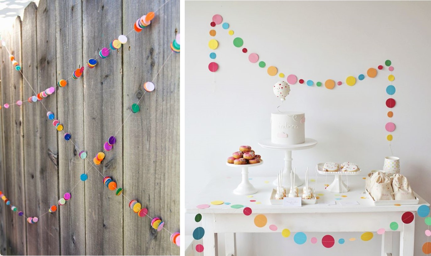 Guirnaldas hechas con confetti