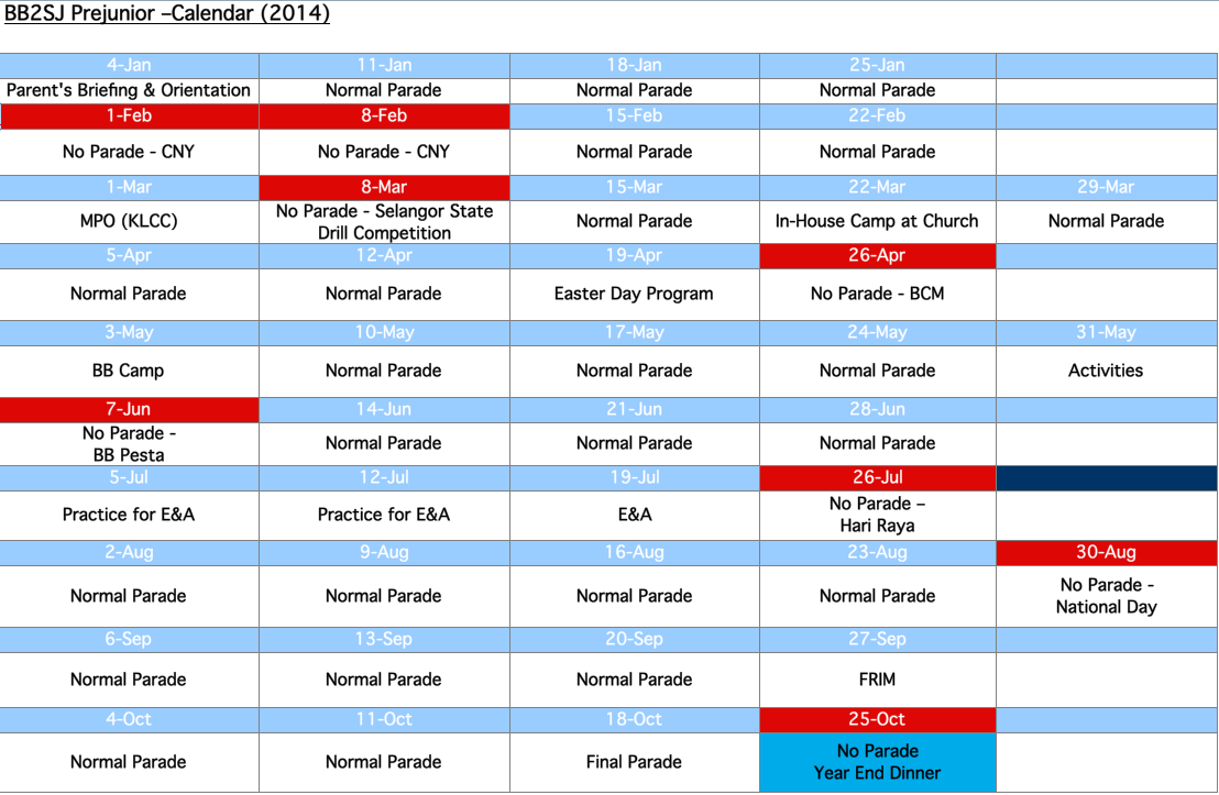 BB2SJ Pre Junior Schedule Plan 2014