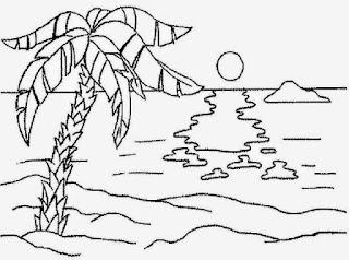 Gambar Sketsa Mewarnai Pemandangan Alam