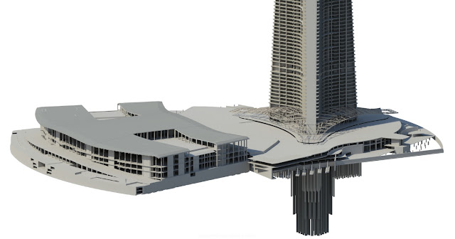 Kingdom Tower model showing lower part of the building with foundations