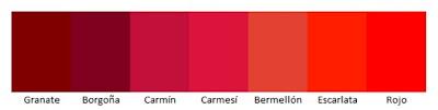 tonalidades color rojo