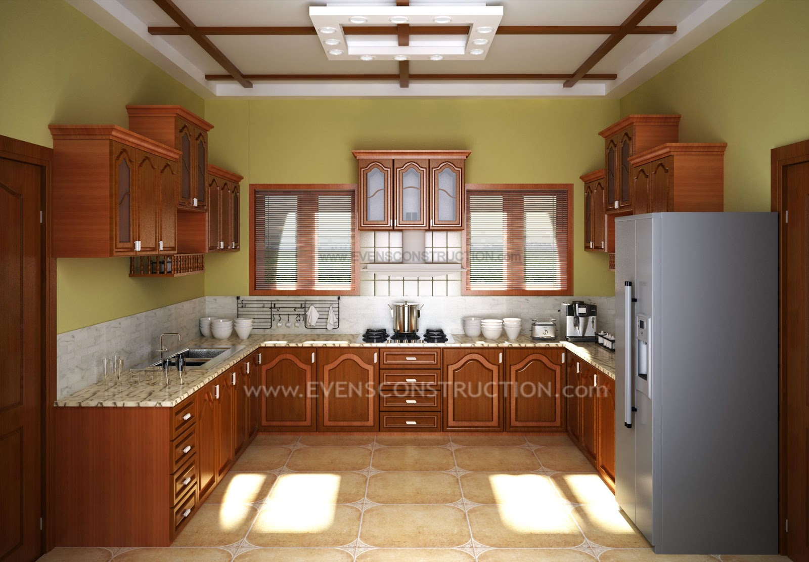 Evens construction pvt ltd kerala kitchen with wooden for Interior designs cupboards