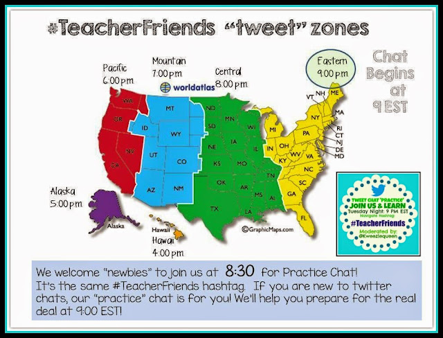 Twitter Chat #TeacherFriends Tuesday Night 9PM EST, Practice 8:30