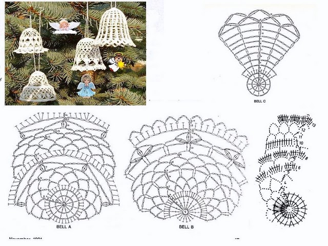 Lunitas de Lana y Fieltro: Varios modelos de campanitas para tejer ...