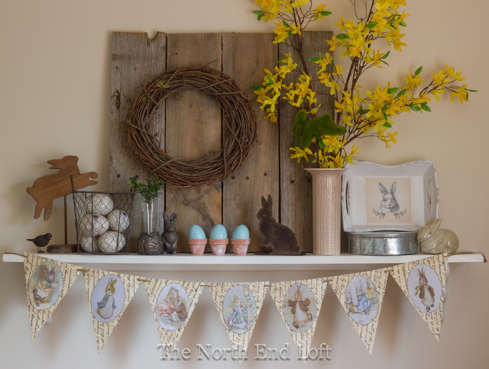 The north end loft rustic easter fantel for House table decorations