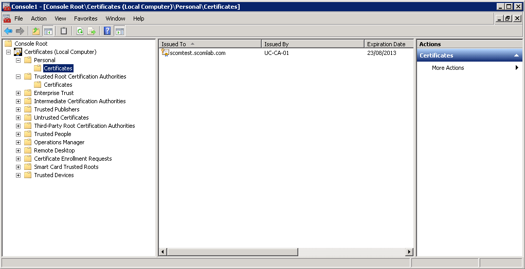 Kevin greene it blog using internal certificates with scom on this completes the certificate request using the scom certificate template and the certificate export import into your windows server local computer yelopaper Choice Image