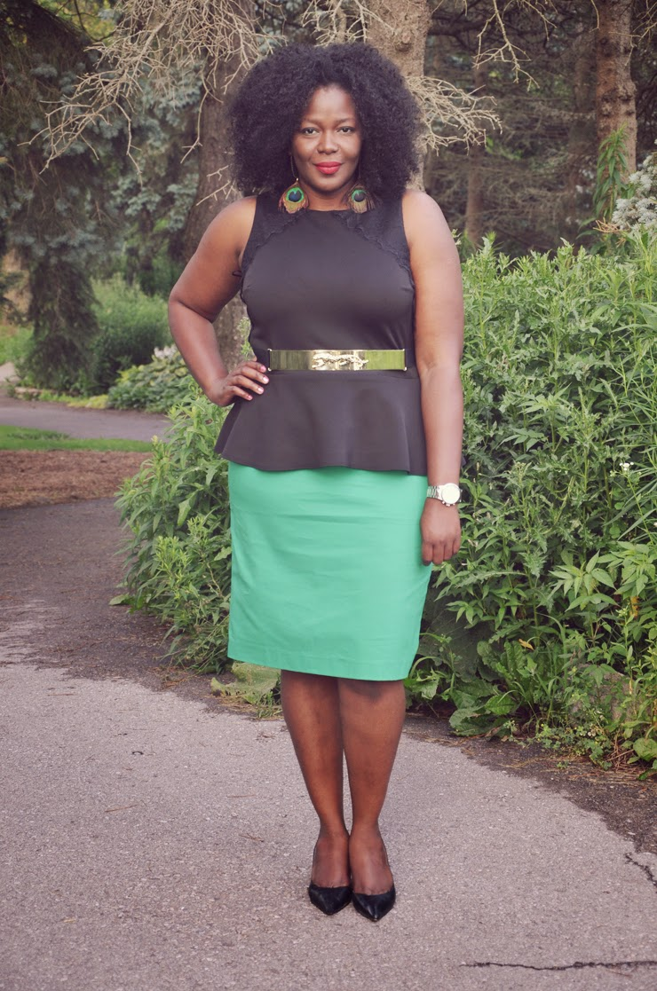 Plus size outfit inspiration : Black Peplum top see details of the outfit more on www.mycurvesandcurls.com