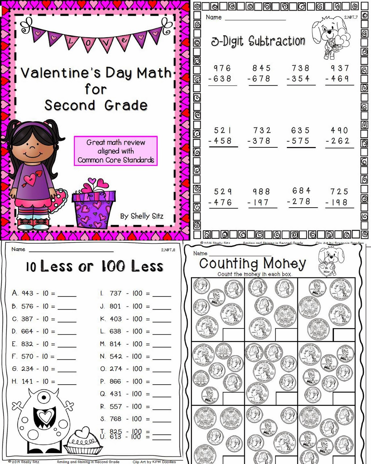 http://www.teacherspayteachers.com/Product/Valentines-Day-Math-for-Second-Grade-1096229
