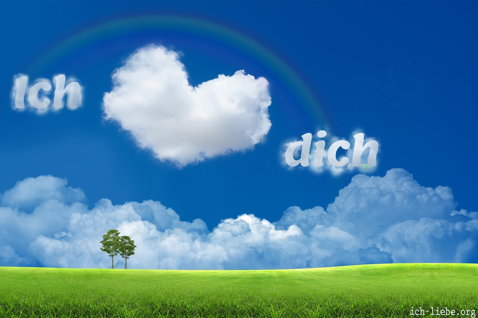 ich liebe dich, liebesbilder, herz, grün. wolken
