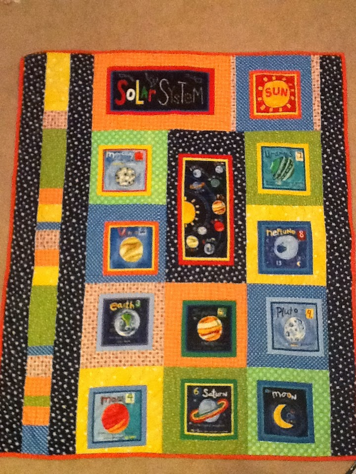 Solar system baby quilt polka dot palm tree for Solar system quilt pattern