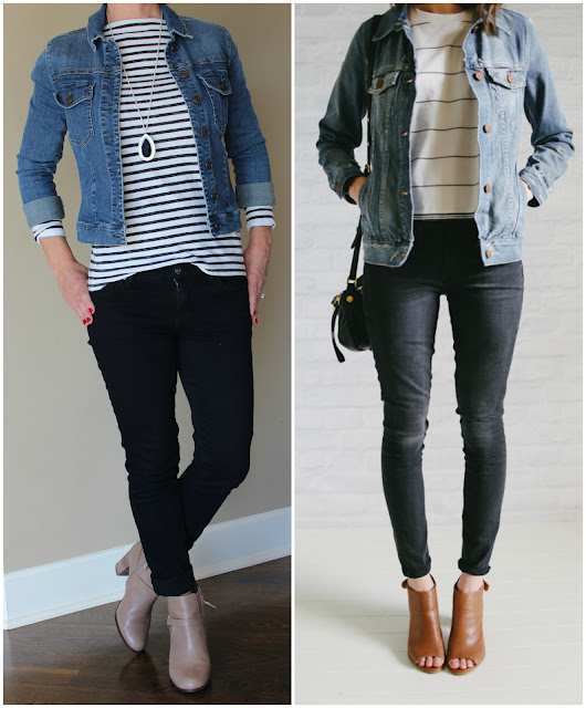 Unfancy, black and white stripes, fashion blogger, black skinny jeans, tan booties, fall outfit inspiration