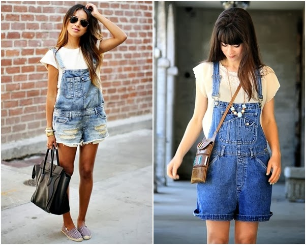 Jardineira Linda Looks Como Usar Jeans Curta Short Rasgado Blusa