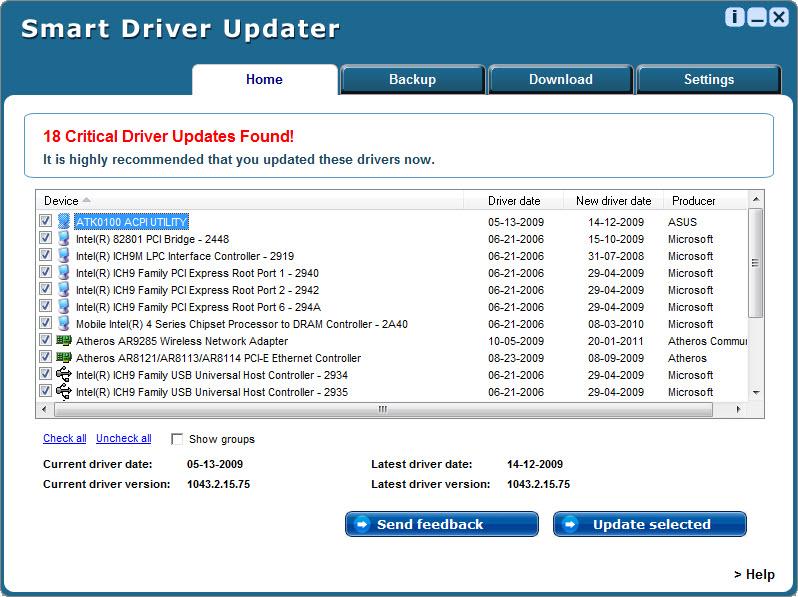 Smart Driver Updater - утилита для поиска